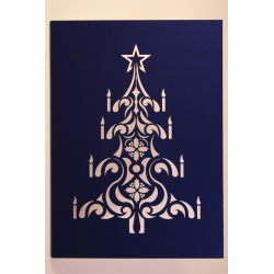 Blue Laser Cut Christmas Tree Card