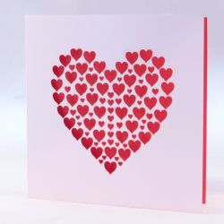 Pink Laser Cut Hearts Card