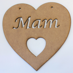 'Mam' Heart Hanging Decoration 2mm MDF