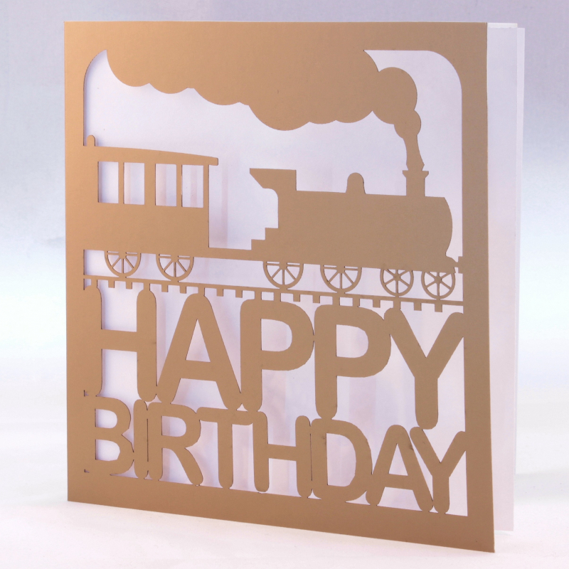 Gold laser cut train birthday card gold train birthday card loading zoom bookmarktalkfo Image collections