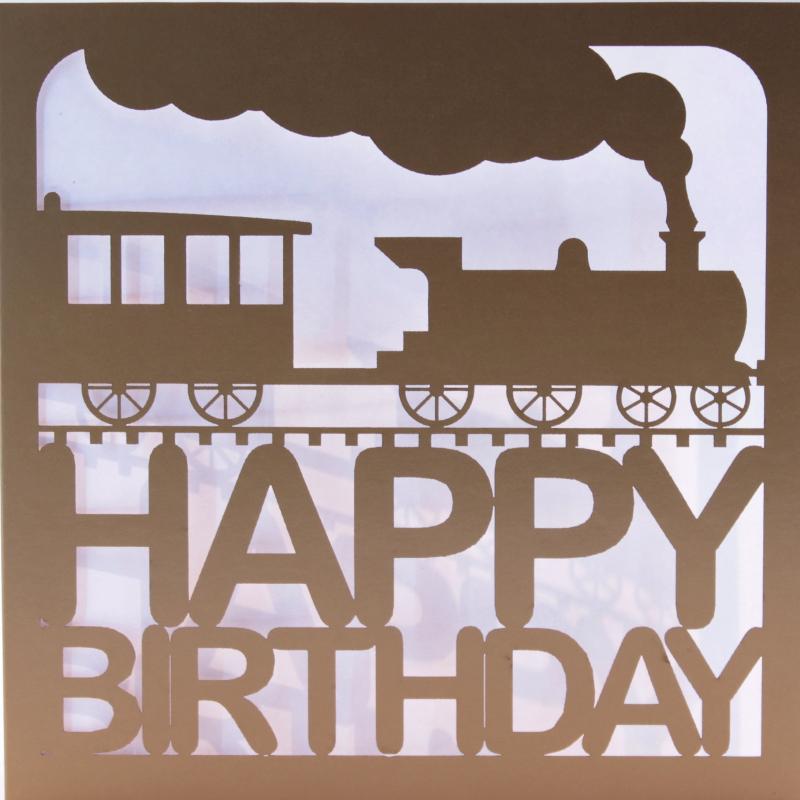 Gold Laser Cut Train Birthday Card – Train Birthday Cards