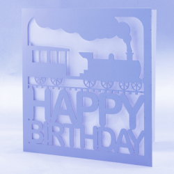 Silver Train Birthday Card