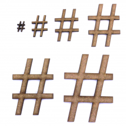 Hashtag Symbol MDF Craft Shape