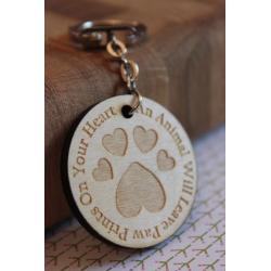 Heart Pawprint Wooden Keyring
