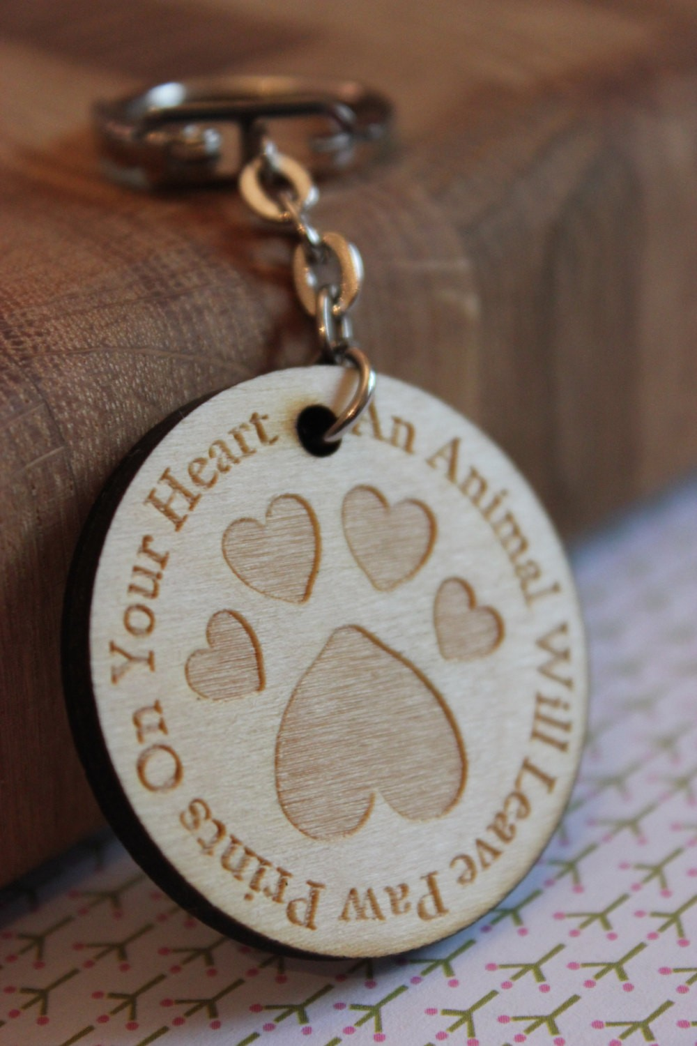 Heart Pawprint Wooden Keyring Spots And Screens