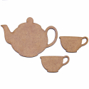 Teapot and 2 Teacups MDF Shapes