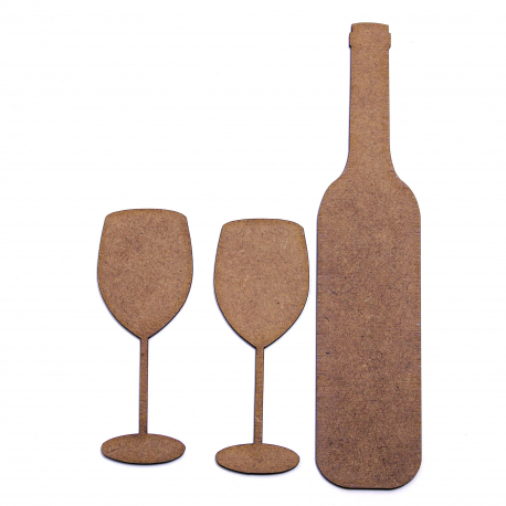 Wine Bottle and 2 Glasses MDF Shapes