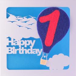 1st Birthday Card With Blue Felt Balloon