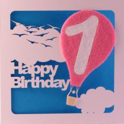 1st Birthday Card With Pink Felt Balloon